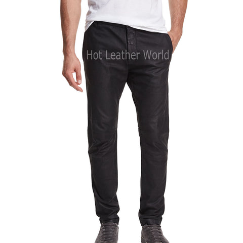 Paneled Trendy Leather Pants For Men -  HOTLEATHERWORLD