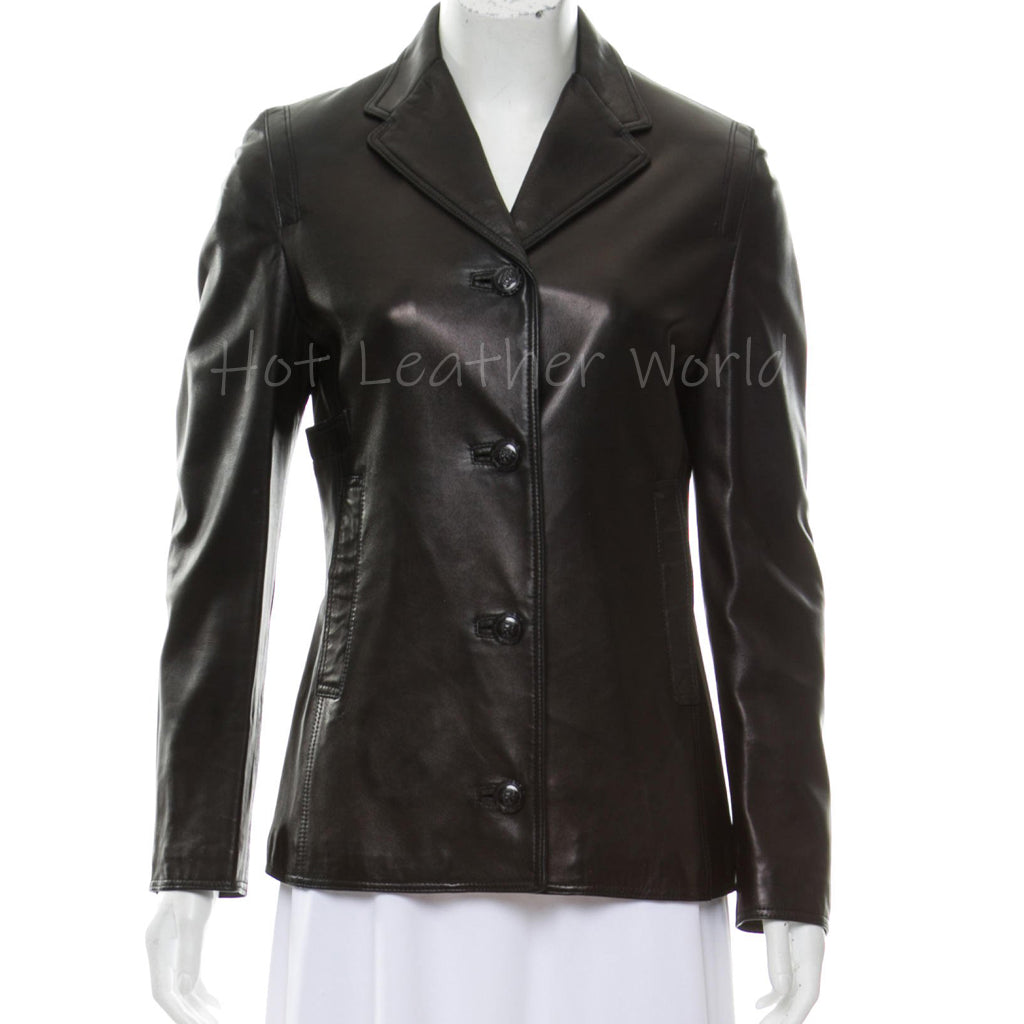 Notch-Lapel Women Leather Blazer -  HOTLEATHERWORLD