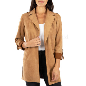 Notch Collar Suede Leather Coat For Women -  HOTLEATHERWORLD