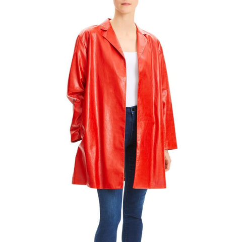 Open Front Red Leather Coat For Women -  HOTLEATHERWORLD