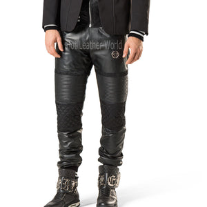 Designer Stich Detailing Men Leather Pants -  HOTLEATHERWORLD