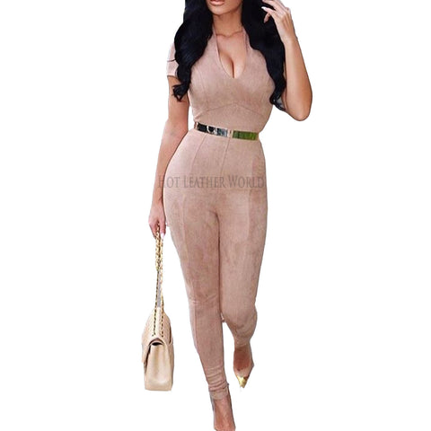 Suede Leather Jumpsuit For Women