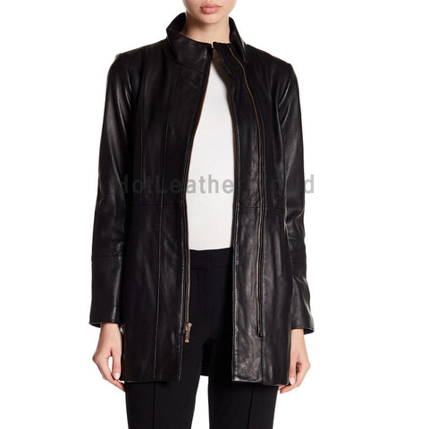 Paneled Women Leather Car Coat -  HOTLEATHERWORLD