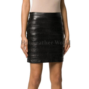 Panled Detailing Women Leather Skirt