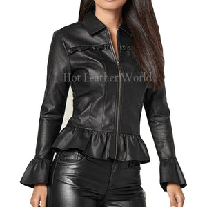 Peplum Style Women Leather Jacket -  HOTLEATHERWORLD