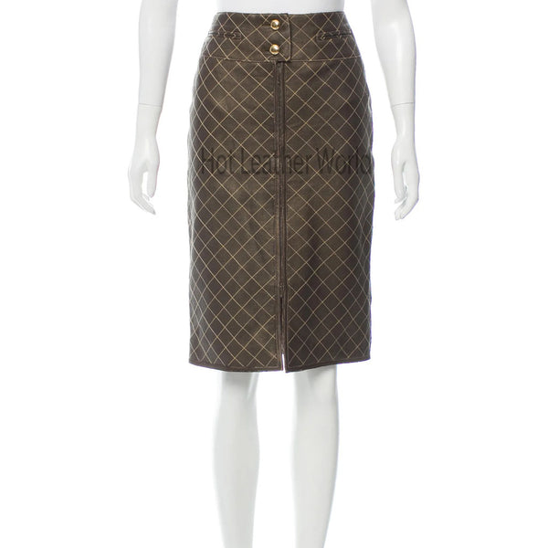Quilted Style Women Leather Skirt For Women -  HOTLEATHERWORLD