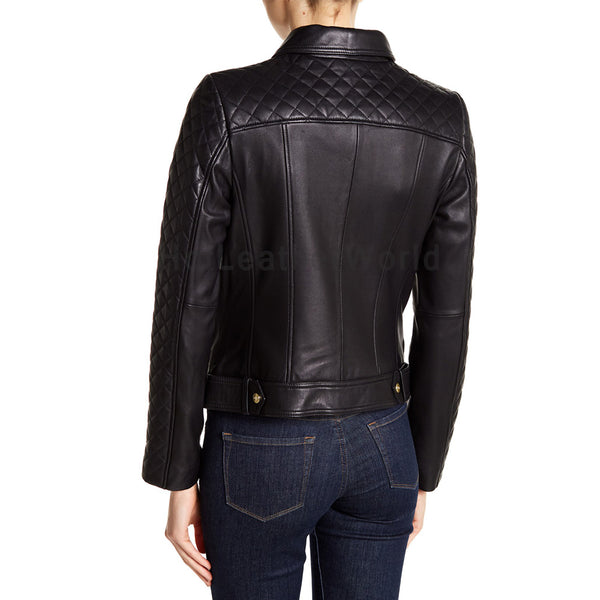 Partially Quilted Women Leather Biker Jacket -  HOTLEATHERWORLD