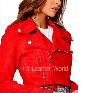 Red Suede Cropped Biker Jacket -  HOTLEATHERWORLD