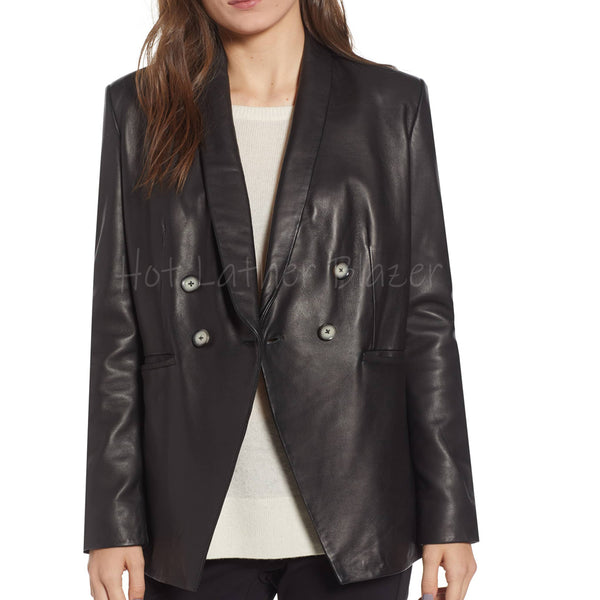 SEMI FITTED WOMEN LEATHER BLAZER -  HOTLEATHERWORLD