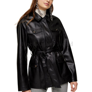 SPREAD COLLAR WOMEN LEATHER BLACK COAT