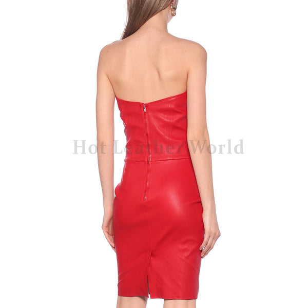 Sculpted Sweetheart Neckline Women Red Leather Dress