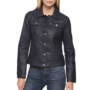 Shirt Styled Button Women Leather Jacket -  HOTLEATHERWORLD