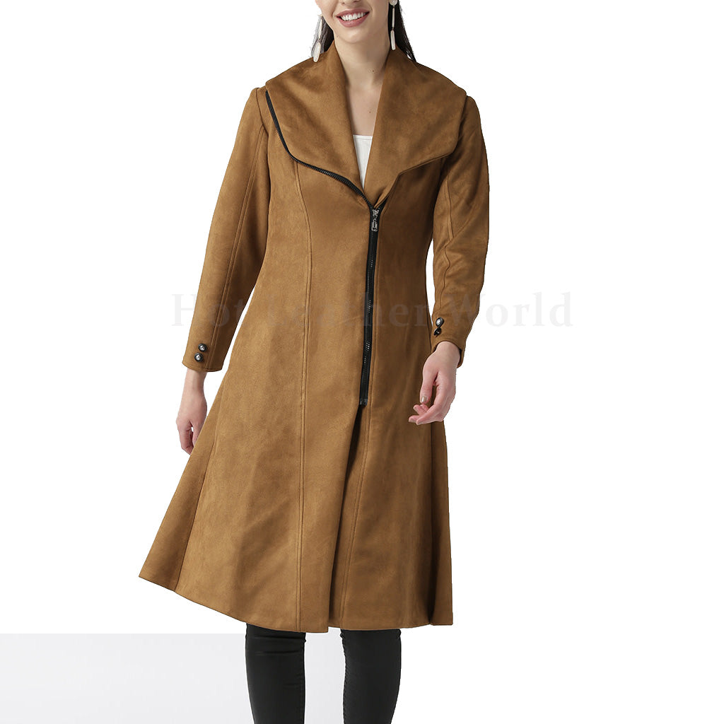 Slim fit Women Suede Leather Overcoat -  HOTLEATHERWORLD