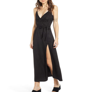 Strap Style Suede Maxi Dress -  HOTLEATHERWORLD
