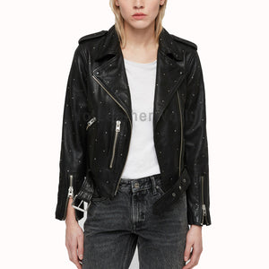 Studded Women Black Leather Jacket -  HOTLEATHERWORLD