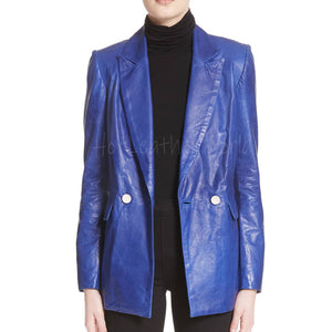 Stylish Peak-Lapel Women Leather Blazer -  HOTLEATHERWORLD