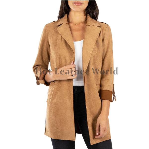 Suede Leather Coat For Women