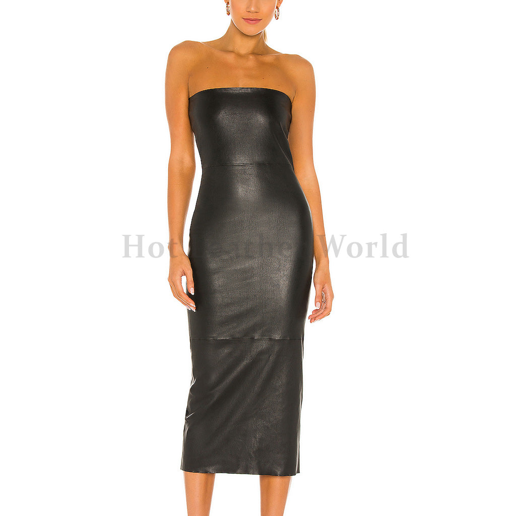 Tube Style Casual Faux Leather Dress