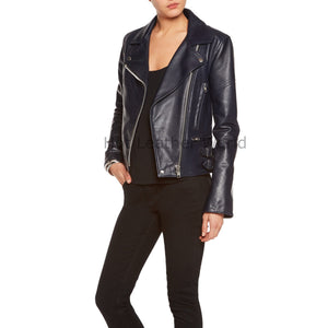 Biker Style Women Moto Leather Jacket -  HOTLEATHERWORLD