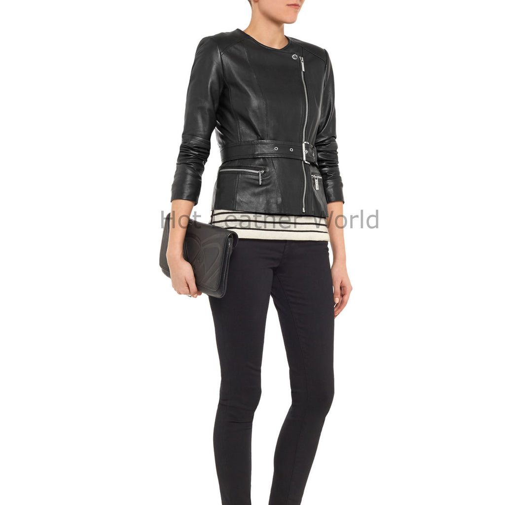 Round Neck Women Leather Biker Jacket