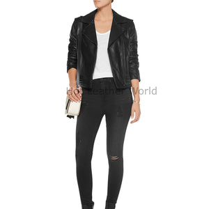 Notch Collar Women Leather Biker Jacket -  HOTLEATHERWORLD