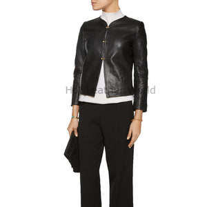 Cropped Women Leather Moto Jacket -  HOTLEATHERWORLD