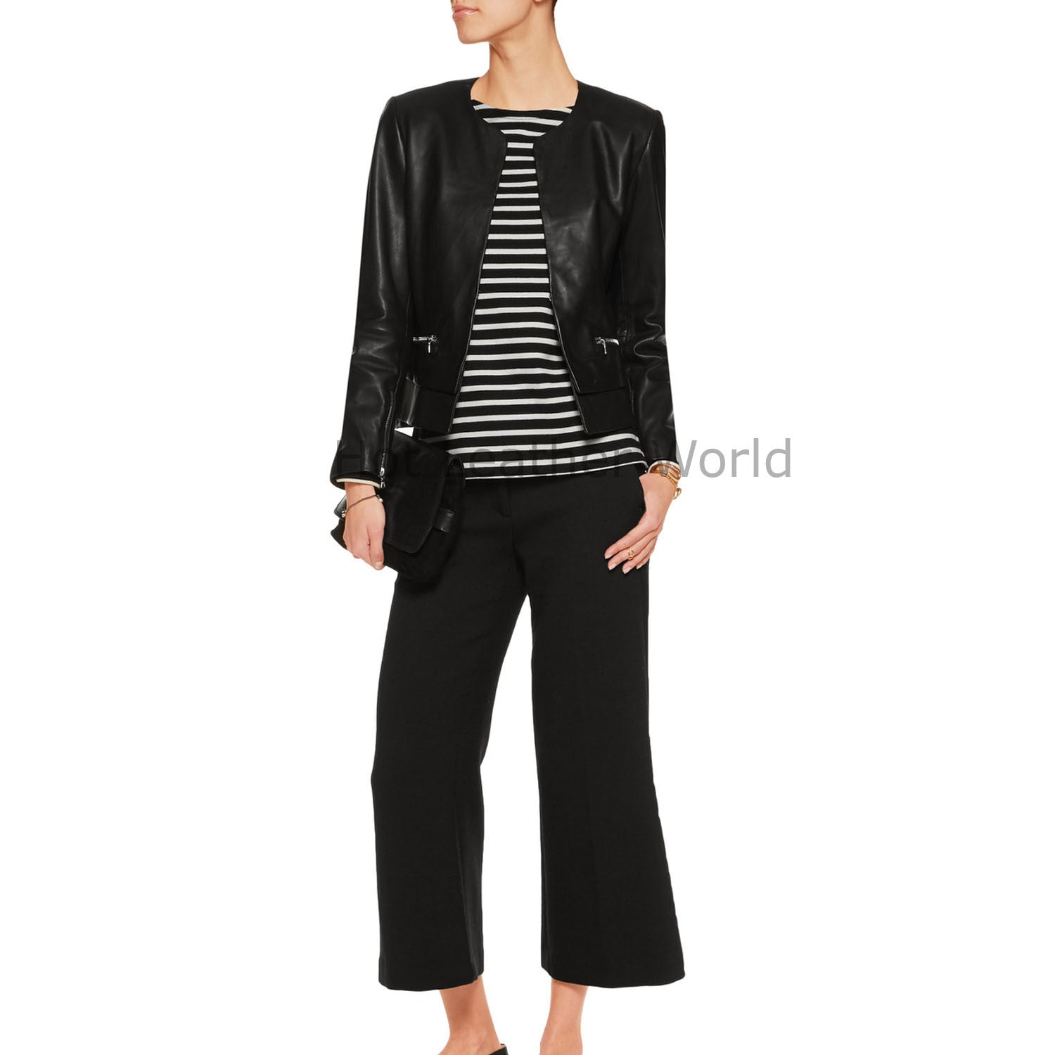 Cropped Summer Women Leather Jacket -  HOTLEATHERWORLD