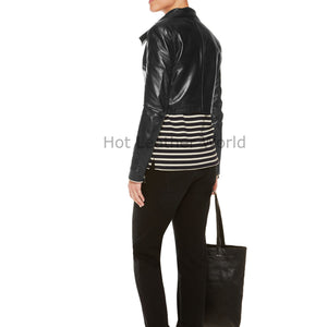 Wide Collar Summer Women Leather Jacket -  HOTLEATHERWORLD