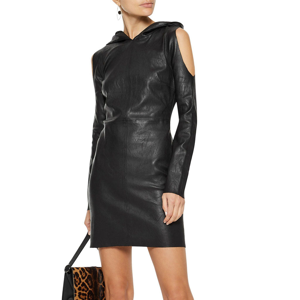 Winter Special Hooded Mini Leather Dress -  HOTLEATHERWORLD