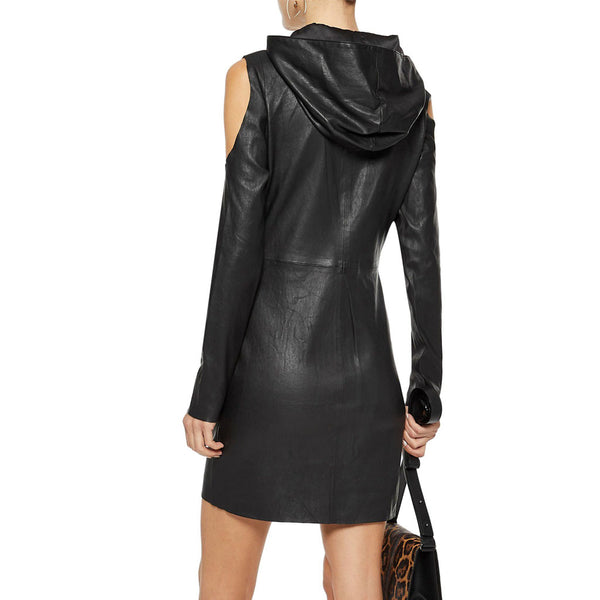 Winter Special Hooded Mini Leather Dress