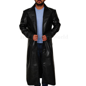 Croc Embossed Men Leather Coat -  HOTLEATHERWORLD