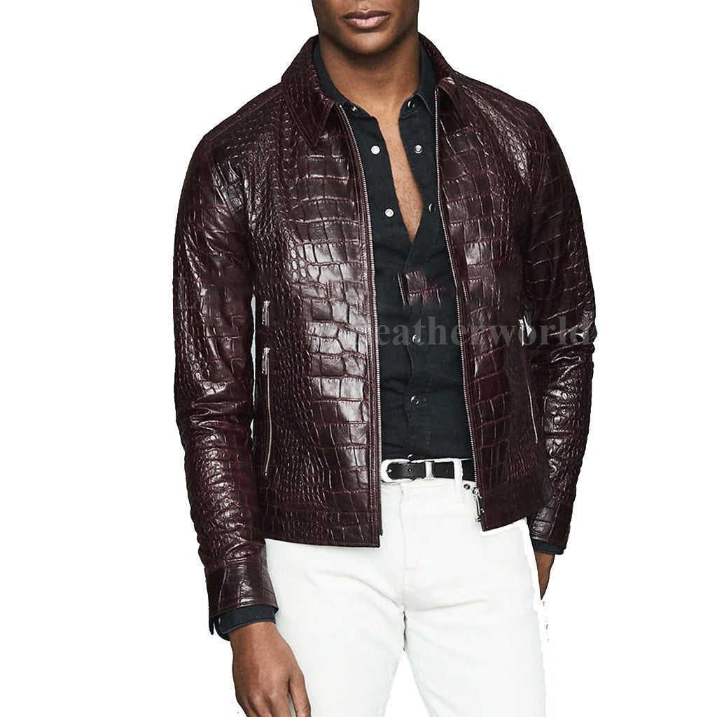 Croc-Embossed Casual Men Leather Jacket