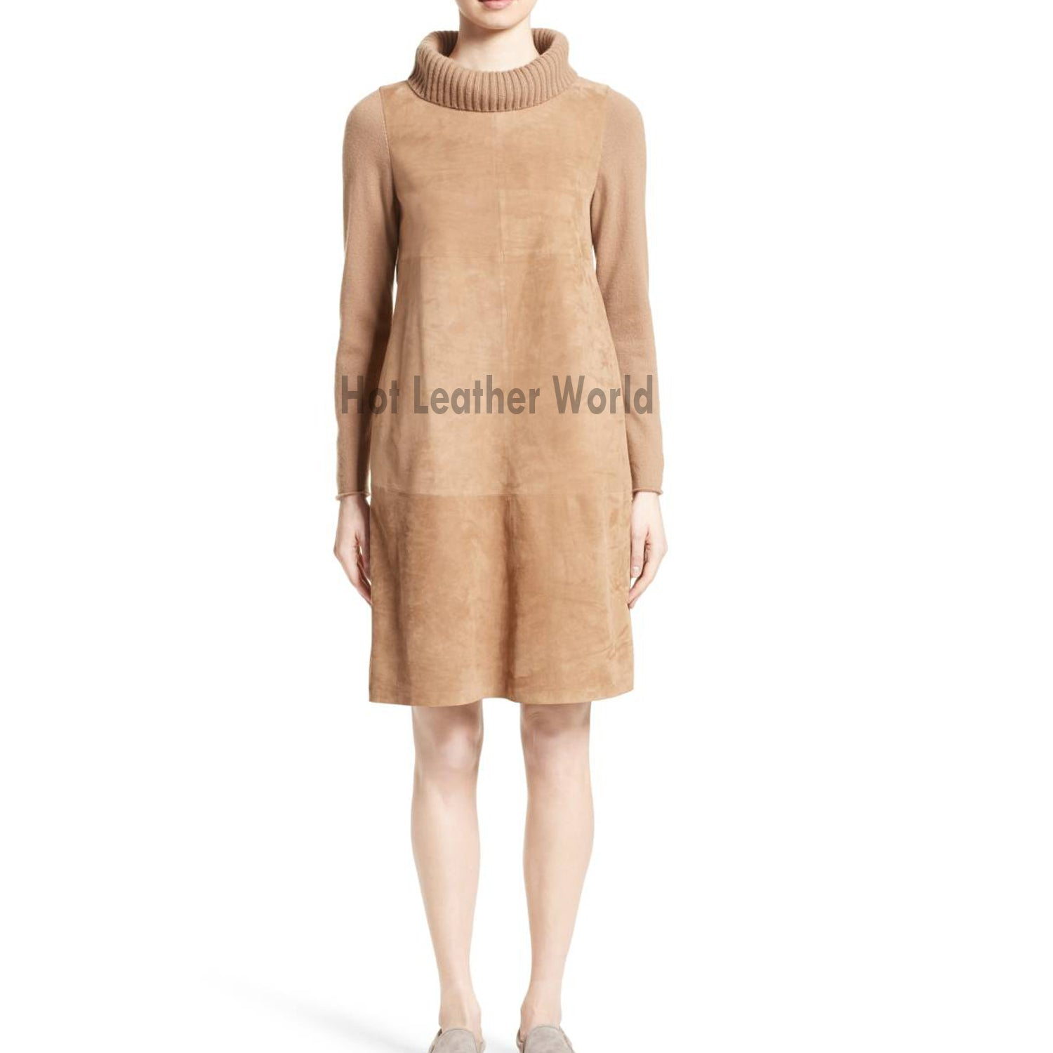TURTLENECK SUEDE LEATHER DRESS -  HOTLEATHERWORLD