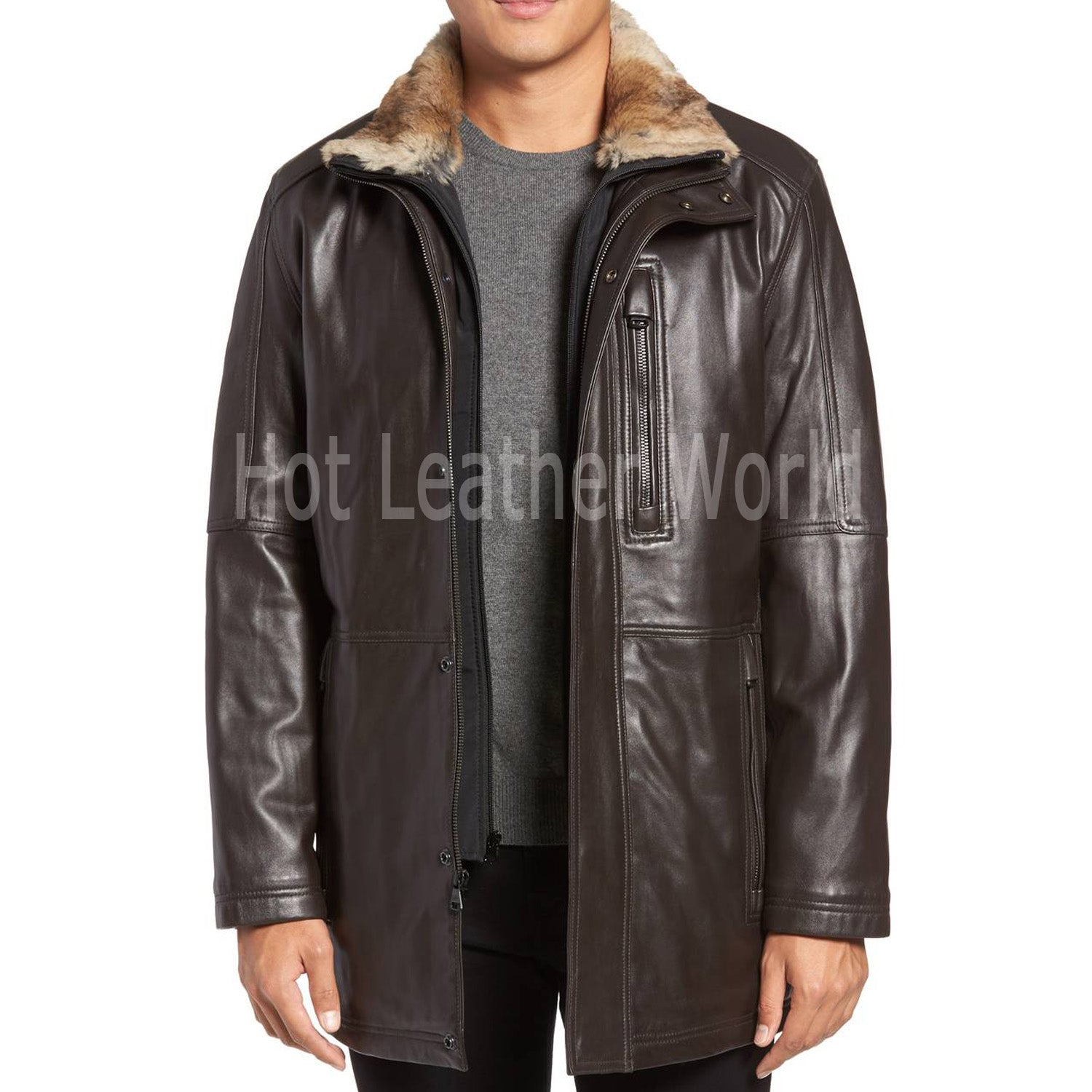 Faux Fur Leather Coat For Men -  HOTLEATHERWORLD