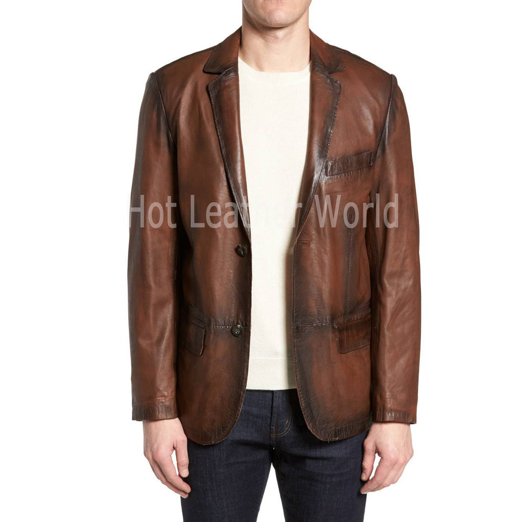 FAUX LEATHER VINTAGE STYLE LEATHER COAT -  HOTLEATHERWORLD