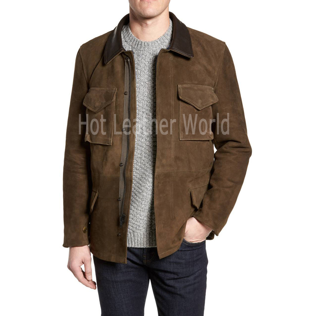 Suede Leather Men Coat -  HOTLEATHERWORLD