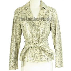 Snake Print Leather Jacket For Women -  HOTLEATHERWORLD