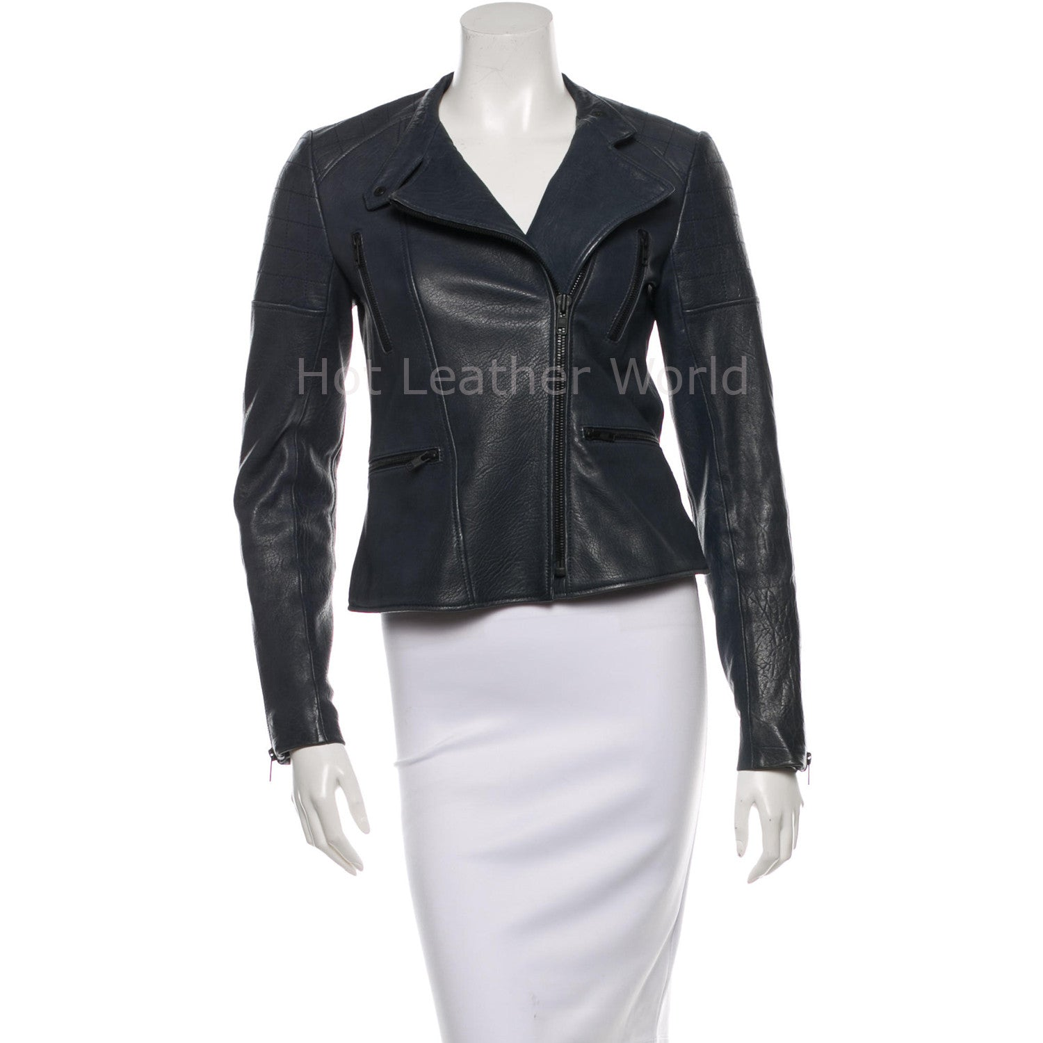Navy Style Women Leather Biker Jacket -  HOTLEATHERWORLD