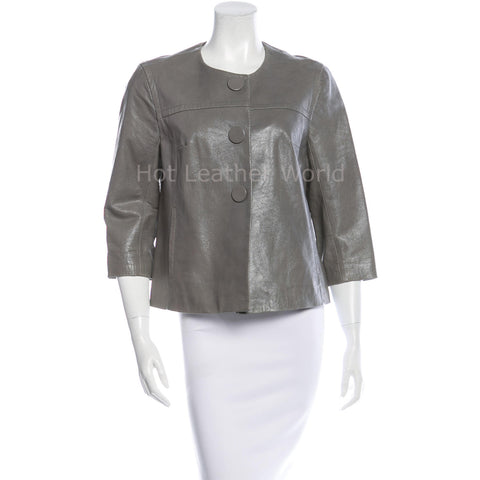 Collarless Women Leather Winter Top