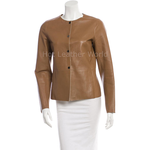 Round Neck Women Leather Shirt