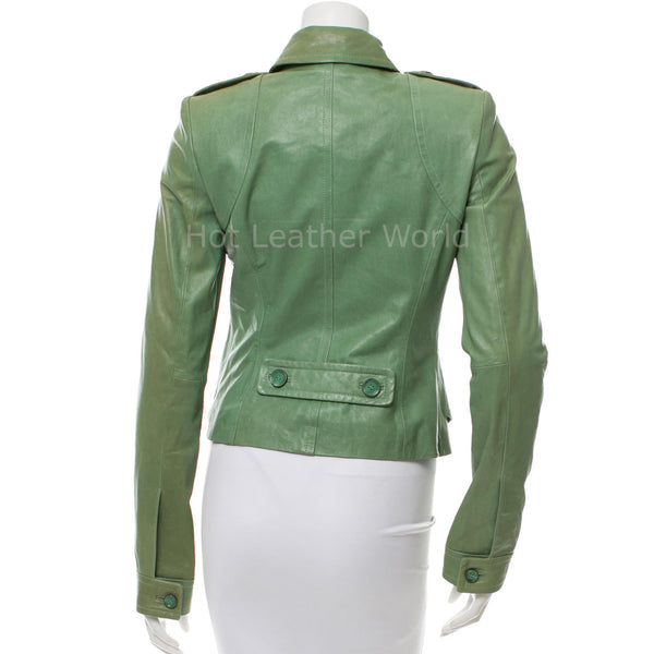 Designer Military Women Leather Jacket -  HOTLEATHERWORLD