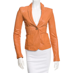 Single Button Women Leather Blazer -  HOTLEATHERWORLD
