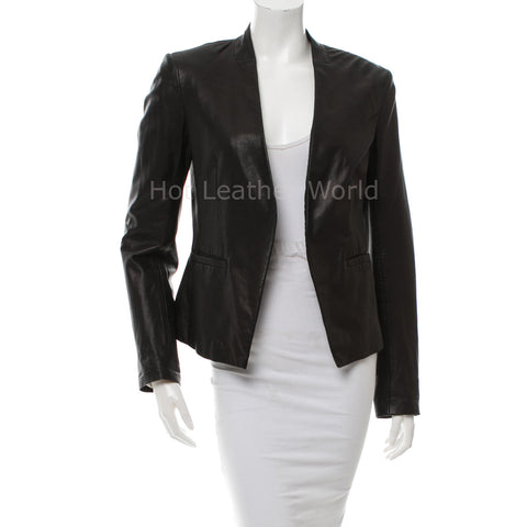 Classic Design Women Leather Blazer -  HOTLEATHERWORLD