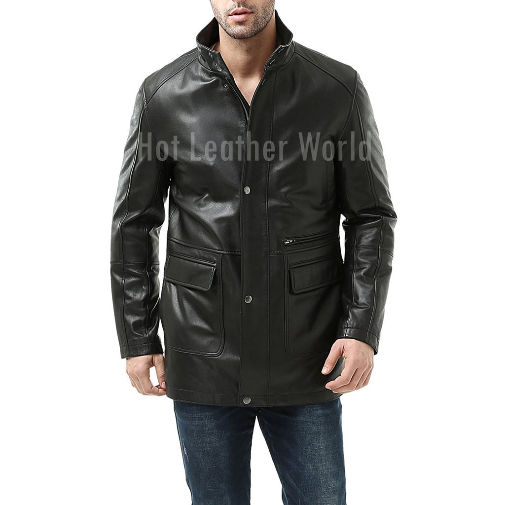 LAMBSKIN LEATHER CAR COAT -  HOTLEATHERWORLD
