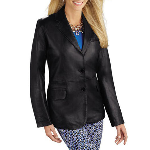 Classic Designer Style Women Leather Blazer -  HOTLEATHERWORLD