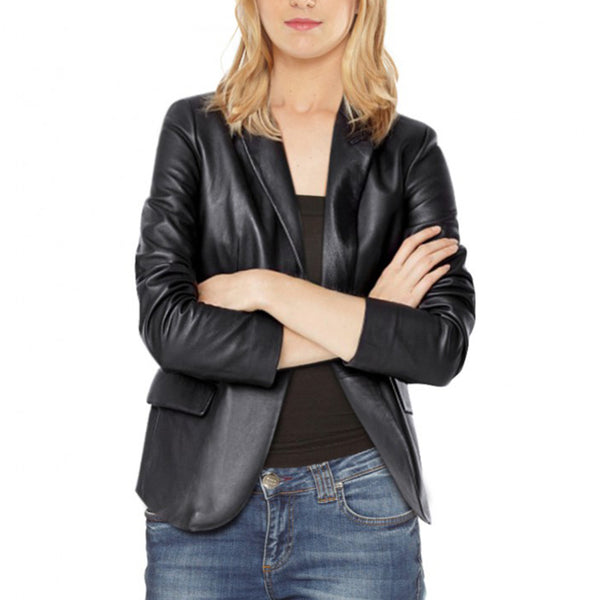 Classic Unique One Buttoned Women Leather Blazer -  HOTLEATHERWORLD