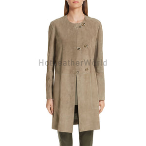 Amazing Buttoned Women Suede Leather Coat -  HOTLEATHERWORLD