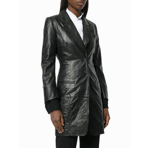 Two Button Women Notch Collar Leather Coat -  HOTLEATHERWORLD