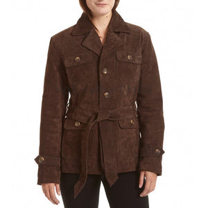 Belted Notch Collar Suede Leather Coat