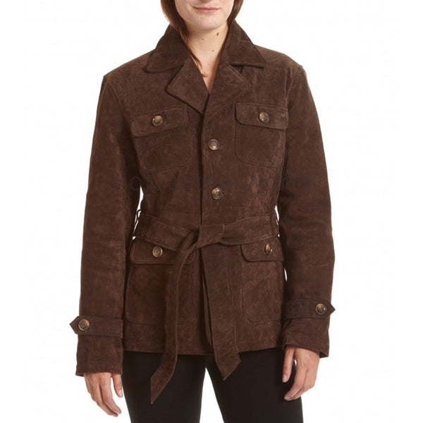 Belted Notch Collar Suede Leather Coat -  HOTLEATHERWORLD